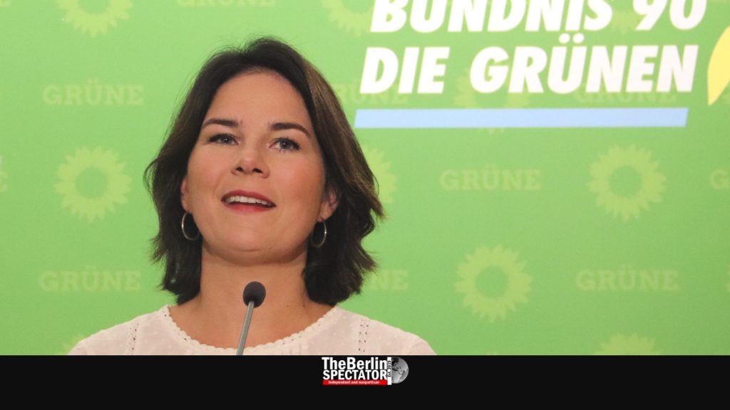Annalena Baerbock, one of today's Green party leaders, at a press conference in Berlin.
