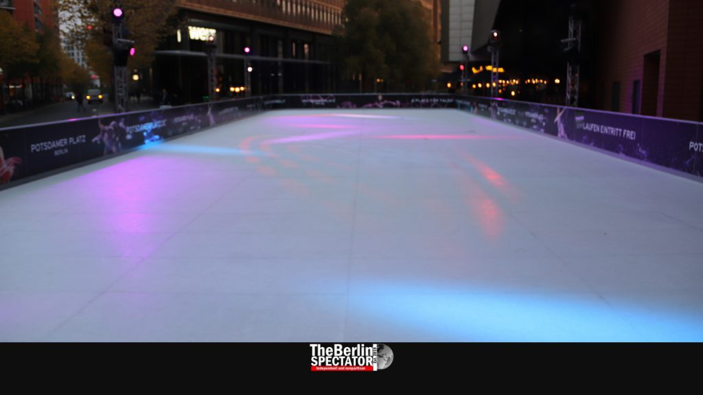 The ice rink and Marlene Dietrich Square is empty, for now.